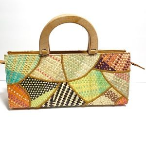 Unbranded Multicolored straw purse w/wood handles